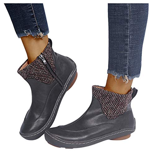 Women Vintage Leather Shoes Flat Ankle Serpentine Print Short Booties Round Toe Side Zip Boots Gray