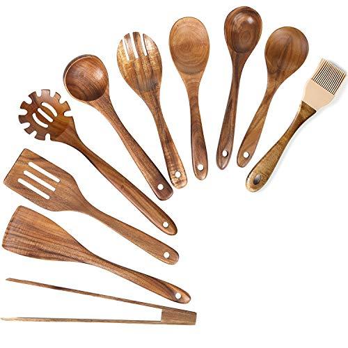 Wooden Spoons for Cooking,10 pcs Wood Utensil Set Wooden Kitchen Utensils for Nonstick Cookware Natural Teak Utensils for Cooking Wood Cooking Utensil Set