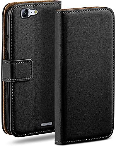 moex Klapphülle kompatibel mit Huawei Ascend G7 Hülle klappbar, Handyhülle mit Kartenfach, 360 Grad Flip Hülle, Vegan Leder Handytasche, Schwarz
