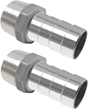 Horiznext Stainless Steel Barbed Fitting 1 inch id Barb Hose Connector Male npt 1in Coupler, Pack of 2 pcs