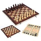 Queta Tablero Ajedrez,Juego de ajedrez de Rompecabezas,3 EN 1 Ajedrez,Damas,Ajedrez Plegable Portátil,Juego ajedrez para niños y Adultos Juegos de Mesa de Ajedrez 39 X 39CM