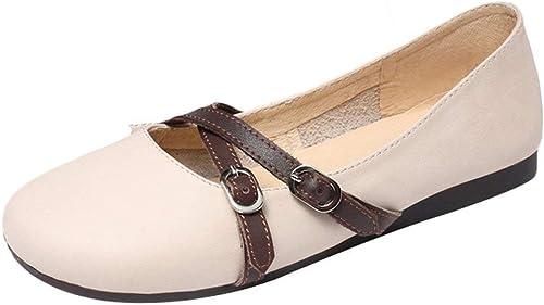 ZHRUI Mocasines para mujeres Mary Janes con cinturón Buckls Mocasines Planos (Color   Beige, tamaño   2 UK)