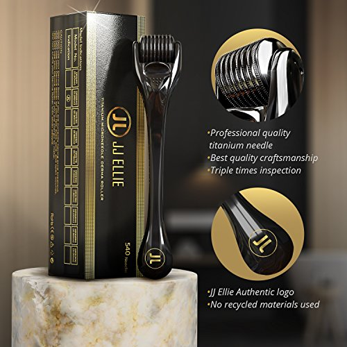Derma Roller Microneedling Kit for Face, Beard, and Hair Growth 0.25mm, Microneedle Roller, Microdermabrasion 540 Titanium Micro Needles Skin Roller For Home Skincare Use - Includes 4 Free Ebook
