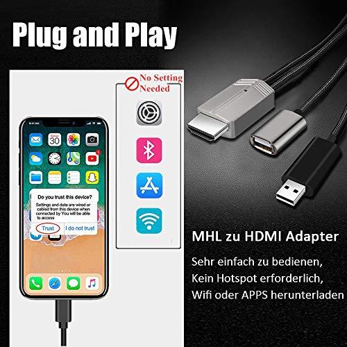 Kompatibel mit iPhone Android Phone zu HDMI Adapter, DIWUER Aktualisiert MHL Kabel für Android Phone 1080P Digitaler AV Adapter von TV/Projektor/Monitor
