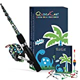 【RAWRR Dinosaur】QudraKast committed to provide more fun for kids fishing journey. We decorated this rod with funny RAWRR Dinosaur pattern, Special Baking Varnish Method make sure it Anti-corrosion and also keep the pattern stay pretty, which can insp...