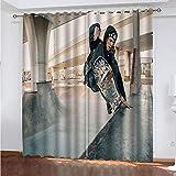 XHIPAS Cortinas Dormitorio Infantil Patineta 132X160Cm Cortina Opaca De Ventana con Ollaos Anti-Ruido Proteger Privacidad Moderno para Salón Habitación Decoración