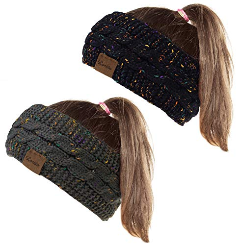 Loritta 2 Pack Headbands for Women Winter Knit Ear Warmer Thick Head Wrap Fuzzy Cable Hair Bands Hoop Confetti Gifts,Dark Gray+Black