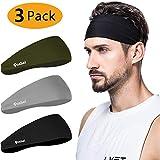 poshei Mens Headband (3 Pack), Mens Sweatband & Sports Headband for Running, Crossfit, Cycling, Yoga, Basketball - Stretchy Moisture Wicking Unisex Hairband