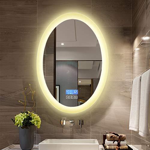 SXFYMWY Espejo de baño sin Marco con luz LED Ovalado Montado en la Pared Inteligente de un Solo Toque Anti-Niebla HD Espejo de Maquillaje con luz Blanca