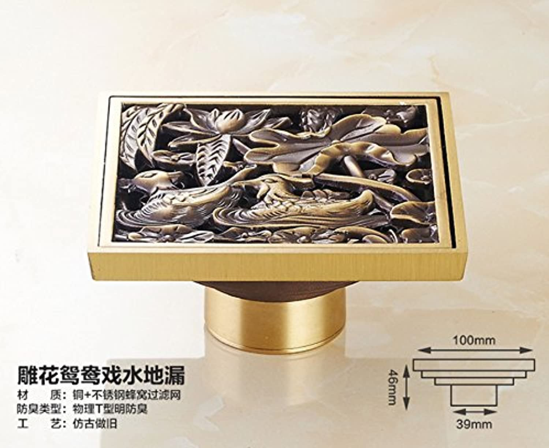Aawang Bathroom Balcony Kitchen Sink Floor Drain Toilet Deodorant Floor Drain Antique Copper Shower Drains Strain Covers B