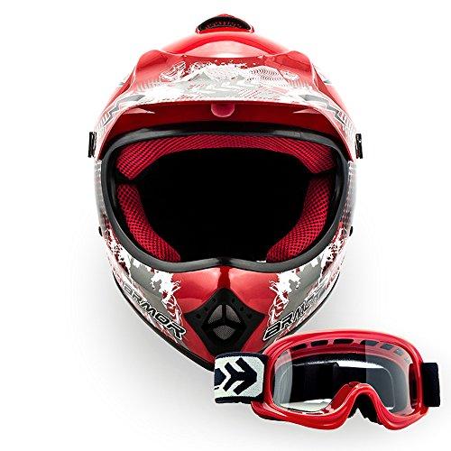 ARMOR Helmets AKC-49 Set Casco Moto-Cross DOT certificado, Bolsa de transporte, XS (51-52cm), Rojo