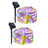 SEMILITS Solar String Lights Outdoor - 33ft 100 LED Copper Wire Waterproof Solar Fairy Light for Christmas Wreath Home Garden Tree Patio Fence Decorations Multicolor(2Pack)