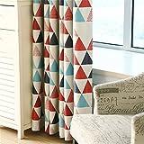 LianLe Vorhang Gardine Geometrie Dreieck Muster Blickdicht Schlaufenschal 100x250 cm Wohnzimmer Schlafzimmer Deko (A: 1 Stk Blickdicht Vorhang, Rot)