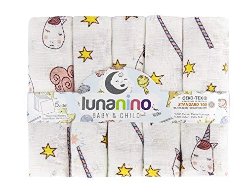 Lunanino Nuestros baberos de 5 unidades (25 x 25 cm) son de algodón 100% natural, orgánico y respetuoso con el medio ambiente y cuentan con el certificado Oeko-Tex.