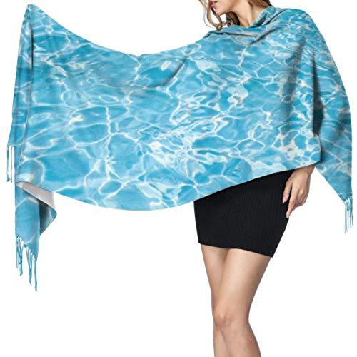 Cantik Blue Summer Cool Swimmingpool Unter Wasser Wickelschals Mädchen Schal Frauen Leichter Schal Weich Extra Warm