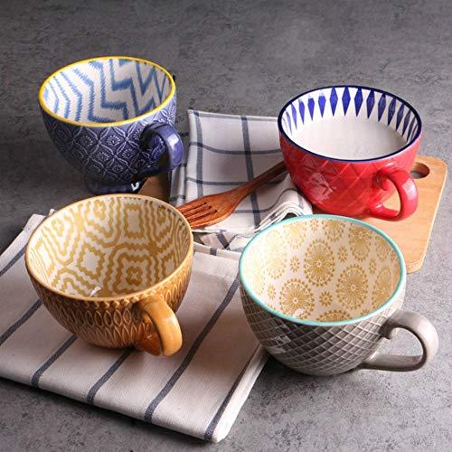 Taza de cerámica Pintada de café en la Mano Creativa de la Vendimia Café Bar Suministros de Desayuno Copa Personalidad Pintado a Mano en Relieve de Color Copa,32pcs Tous