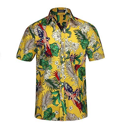 HISDERN Camicia Uomo Funky Hawaiana Manica Corta Fiori Uccello Casual Estate Aloha Stampato Camicia da Spiaggia