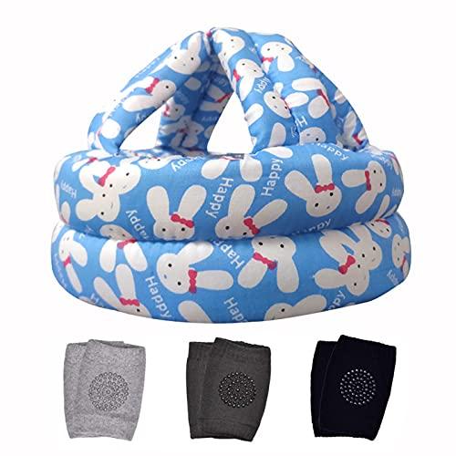 Casco de seguridad para bebés y niños pequeños, sin golpes, para gatear, casco de seguridad ajustable para caminar + 3 rodilleras antideslizantes para niños de 6 a 36 meses