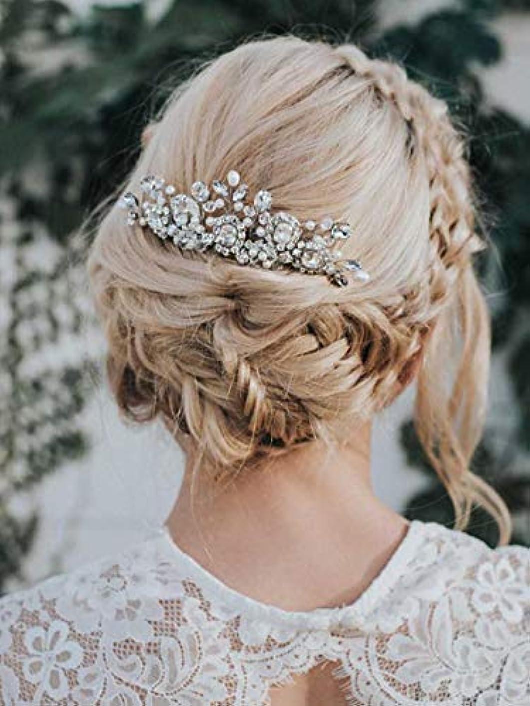 褐色申し立て国内のAukmla Bride Wedding Hair Combs Crystal Rhinestones Stunning Bridal Hair Accessories Decorative for Women and Girls (Silver) [並行輸入品]