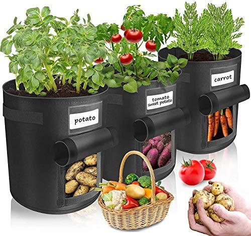 Jiutian Paquete de 3 Bolsas para Cultivo de Patatas, Bolsa para Plantas con Asas y Solapa de Acceso, Bolsas de Tela para jardín para Verduras, Frutas y Zanahorias (Color : Black)