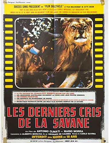 LES DERNIERS CRIS DE LA SAVANE Affiche de film - 60x80 cm. - 1975 - Giuseppe Rinaldi, Antonio Climati