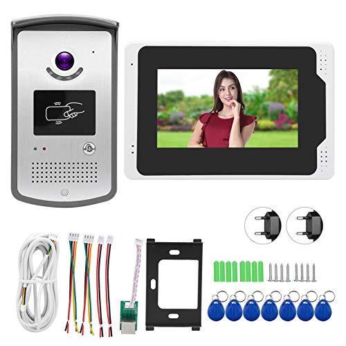 Timbre del intercomunicador Teléfono video de la puerta, prenda impermeable video del control del tacto del timbre del video de 1080P HD 7in Wifi para el apartamento para el hogar(Transl)