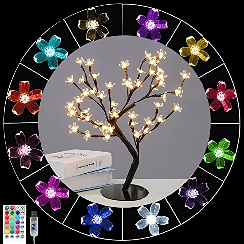 48LED Cherry Blossom Lighted Bonsai Tree, 16 Colors Changing Artificial Blossom Flower Table Tree Lights RGB Lamp with Remote Plug In for Home Living Room House Decorations-Girls Mom Gift