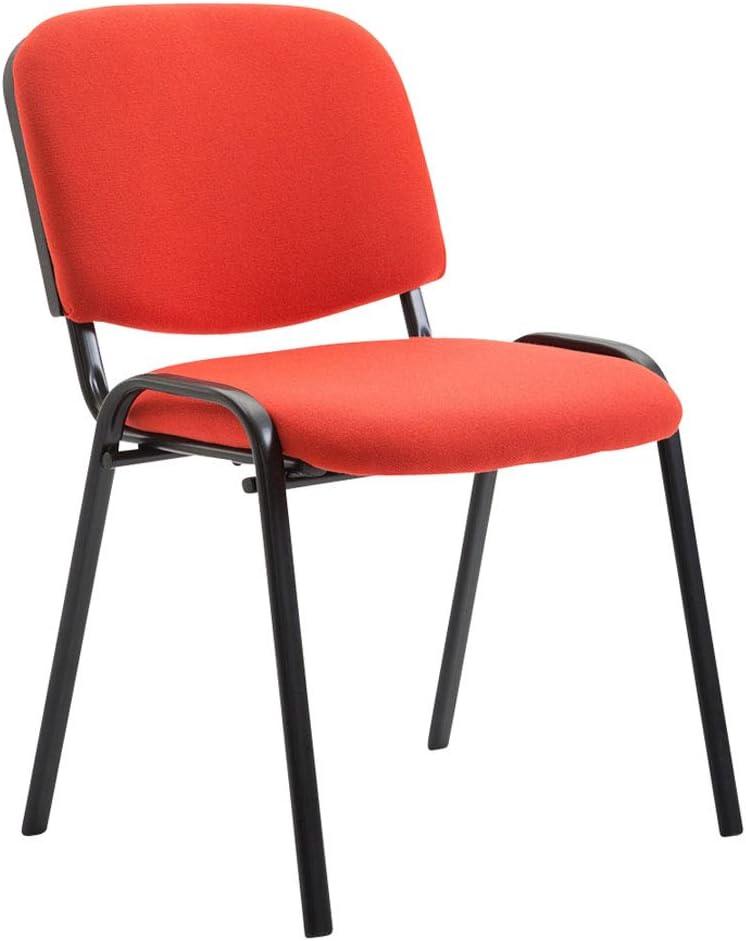 Lot De 4 Chaises Empilable Ken en Tissu I Chaise Confortable avec Dossier Pieds en Métal Robustes, Couleurs:Gris Rouge