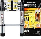 Nestling® Teleskopleiter 2M Alu Leiter Ausziehbar Haushaltsleiter Teleskopleiter Aluminium Klappleiter Ausziehleiter Mehrzweckleiter -Maximale Belastbarkeit