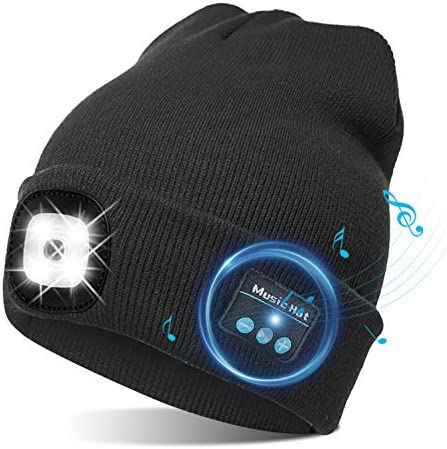 TAGVO USB Bluetooth Music Hat LED Beanie Cap Lighting Flashing Modes Built in Stereo Speaker product image