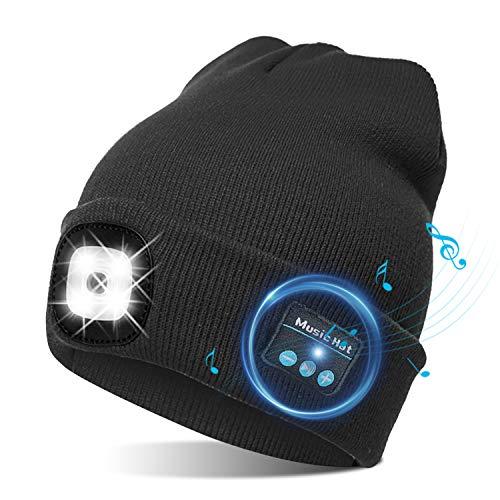 TAGVO Gorro Bluetooth 5.0, LED Ligero Gorro, Altavoz Estéreo y Micrófono inalámbrico...