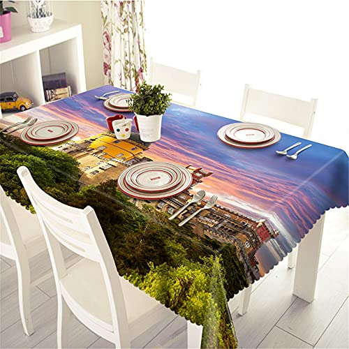 YGHBKL The Castle Landscape Under The Fire Cloud 3D Tablecloth Polyester Rectangular Tablecloth Picnic Fabric Main Decoration 140 x 200 cm
