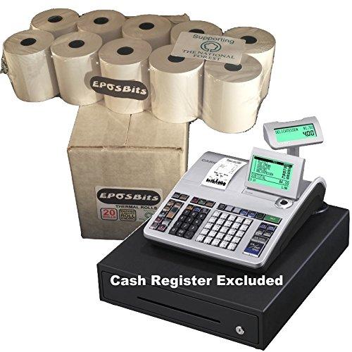 eposbits® marca rollos para que se ajuste a Casio se-s400SES400SES se s S400400caja registradora–20rollos