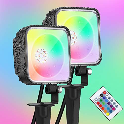 BULING 12W LED Gartenstrahler RGB mit Erdspieß 2er set Wasserdicht IP68, LED Strahler RGB Dimmbar Außen mit Fernbedienung für Wege, Steinmauern, Balkone und Garten