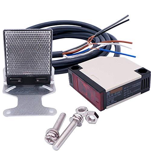 Taiss /E3JK-R4M1 Interruptor de proximidad 12-240VDC 24-240VAC Retroreflective Sensor Interruptor de Proximidad 2M Cable Inducción 4M