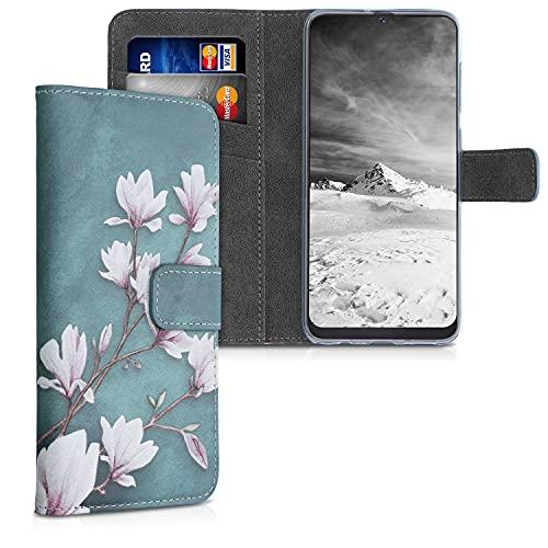 kwmobile Wallet Hülle kompatibel mit Samsung Galaxy A50 - Hülle mit Ständer Kartenfächer Magnolien Taupe Weiß Blaugrau