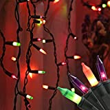 RECESKY 200 Halloween Icicle Lights - 13.6ft Multi Color Curtain String Light for Outdoor, Indoor Decor, Fairy Mini Bulb Lighting for Garden, Yard, Bedroom, Window, House, Halloween Party Decorations