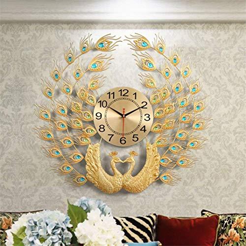 Reloj de pared de doble pavo real, sala de estar moderna, reloj de artesanía de cristal y diamantes de Lovebird, estilo europeo, sin garrapatas, reloj de cuarzo industrial