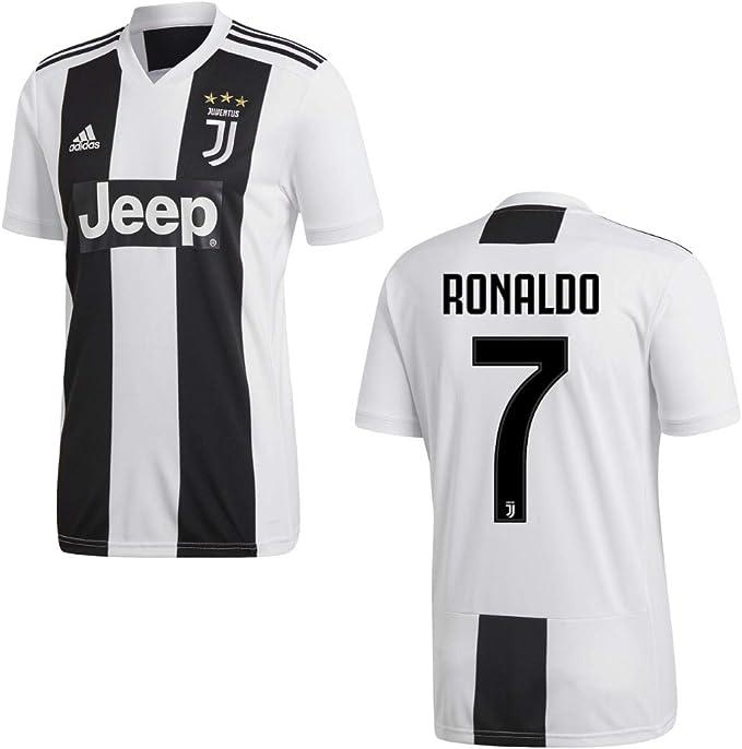 Adidas Camiseta Juventus de Turín temporada 2018-2019, primera equipación, con el nombre de Ronaldo y el número 7, disponible para adultos y niños