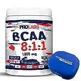 BCAA 8:1:1 Prolabs + Vit B1 + Vit B6 + Portapillole Vitaminstore ● Confezione da 400 cpr ● Integratore alimentare di Aminoacidi a Catena Ramificata