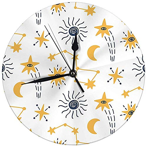 Decoratieve wandklok Big 9,8 inch ruimte Childish Stars Comets Cosmic Elements ronde keukenklok