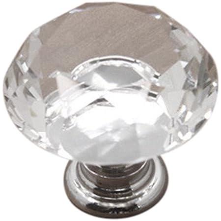 30 mm Pomos de Puerta de Cristal de Cristal Transparente Diamante Decoraci/ón de cajones Armario Tirador Tirador Decoraci/ón del hogar Logicstring Pomos de Puerta de Cristal