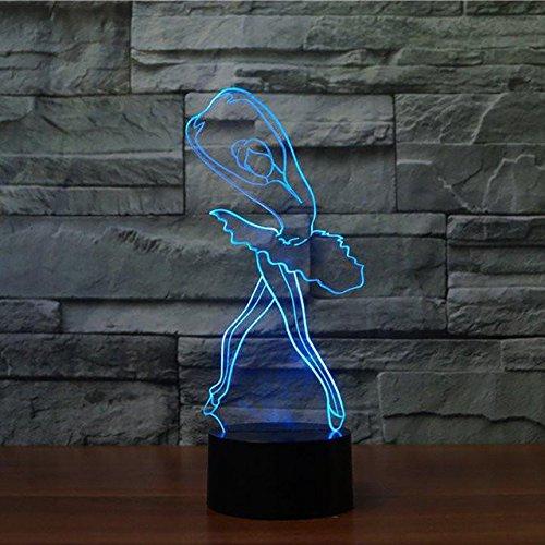 fissen 3d bailarina de ballet LED lámpara de Illusion óptico lámpara luz de noche con cable USB y 7colores decoración para niños dormitorio noche mesa de bebé niño regalo de Navidad fiesta cumpleaños