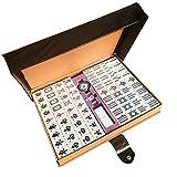 麻雀牌 麻雀セット 麻将 数字付き、見やすい 大型、高級麻雀牌マージャンパイ ケース付き (数字を帯びる)