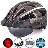 VICTGOAL Fahrradhelm MTB Mountainbike Helm mit abnehmbarem magnetischem Visier Abnehmbarer Sonnenschutzkappe und LED Rücklicht Radhelm Rennradhelm für Erwachsenen Herren Damen (Ti)