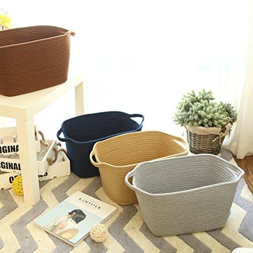 収納ボックス コットンロープバスケット 折り畳み式 収納バッグ ビニール袋 おもちゃボックス 服 タオル収納 果物 小物入れ ホーム 家庭用ブルー
