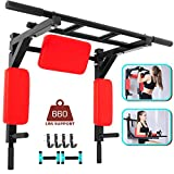 Happybuy Pull Up Bar,Multifunctional Wall Mounted Pull Up Bar,Chin Up Bar Supports to 660LBS,Dip Station for Indoor Home Gym Workout,Power Tower Set Training Equipment Fitness Dip Stand,Red
