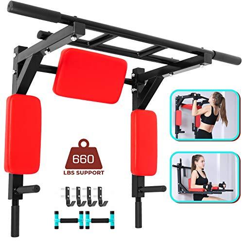 VEVOR Klimmzugstange wandmontage Multifunktionale Fitnessgeräte Wandbefestigung Reckstange für Wand Fitnessgeräte Wandbefestigung(Rot)
