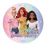 Dekora - Disco Comestible para Decoración de Tartas de Cumpleaños de Mattel Barbie - 20 cm