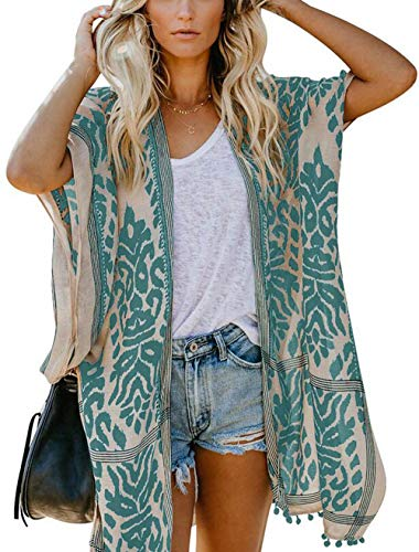 May Story Damen Sommer Kimono Cardigan Lässige Strand Poncho Retro Bedruckte Kurzarm Lange Bluse Tops Pareos Beachwear (One Size, Grün)